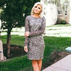Adrianna Papell Long Sleeve Beaded Sequin Dress